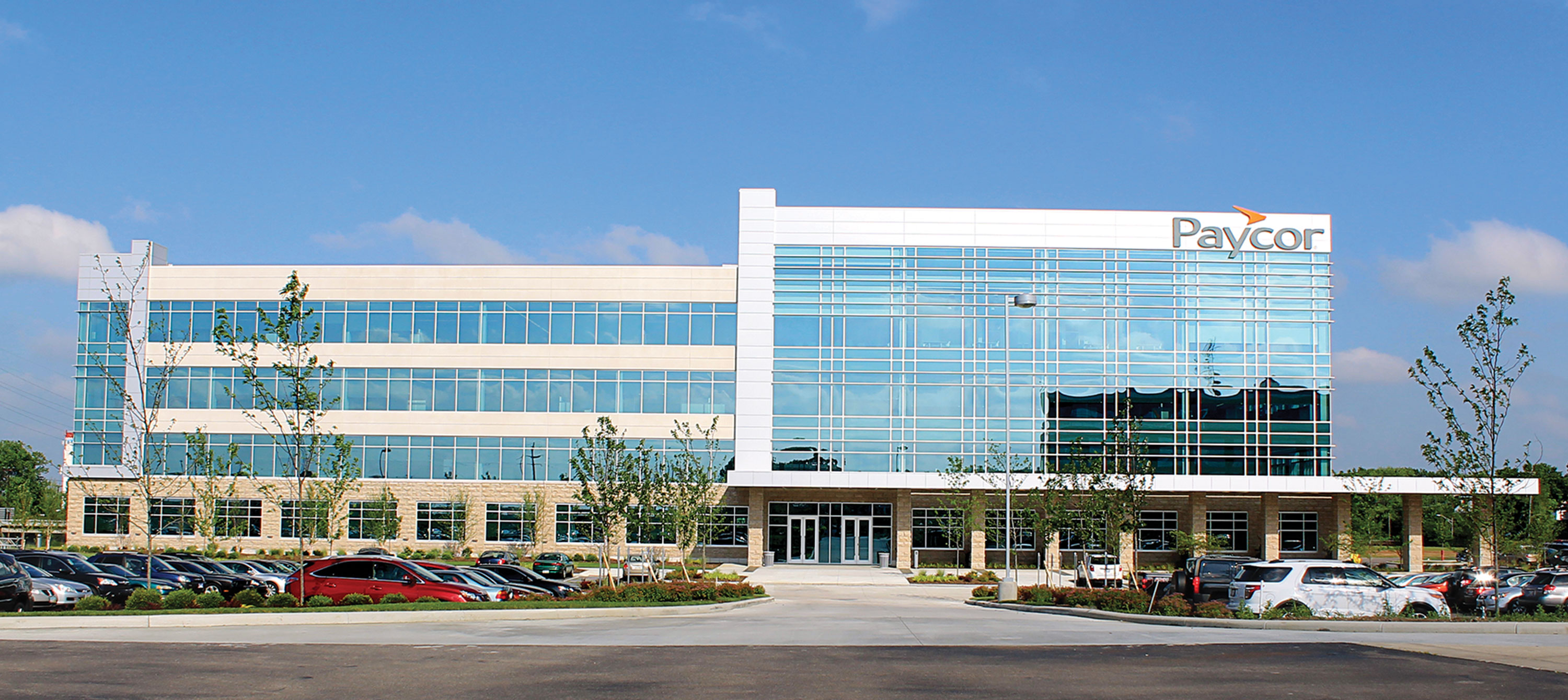 Exterior view of the main entrance at Paycor's corporate headquarters.