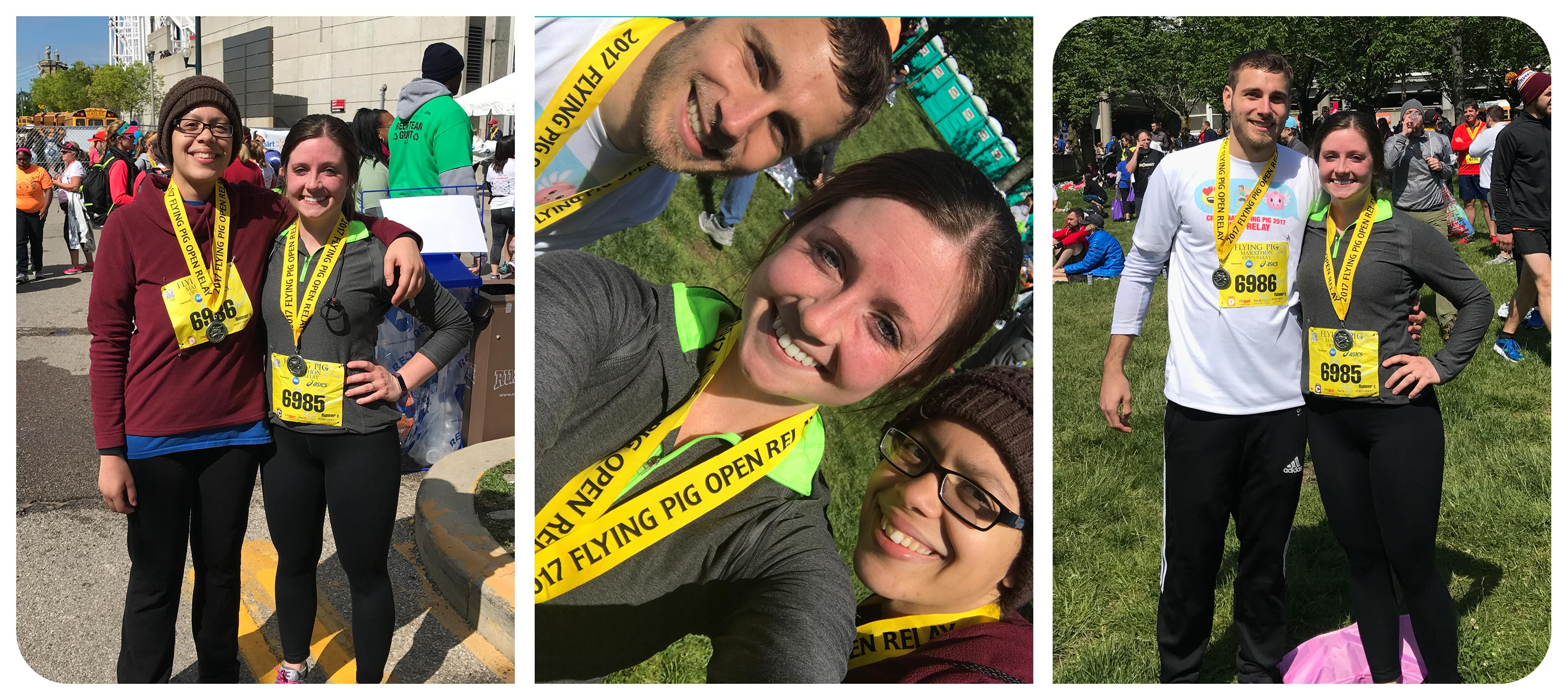 Photos of our co-op, Kristin, and other Schaefer employees at the 2017 Flying Pig Relay Race.