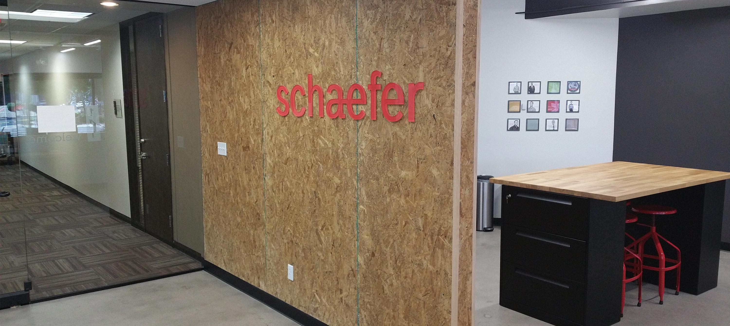 The dimensional graphic installed at the front of the Schaefer Phoenix office.
