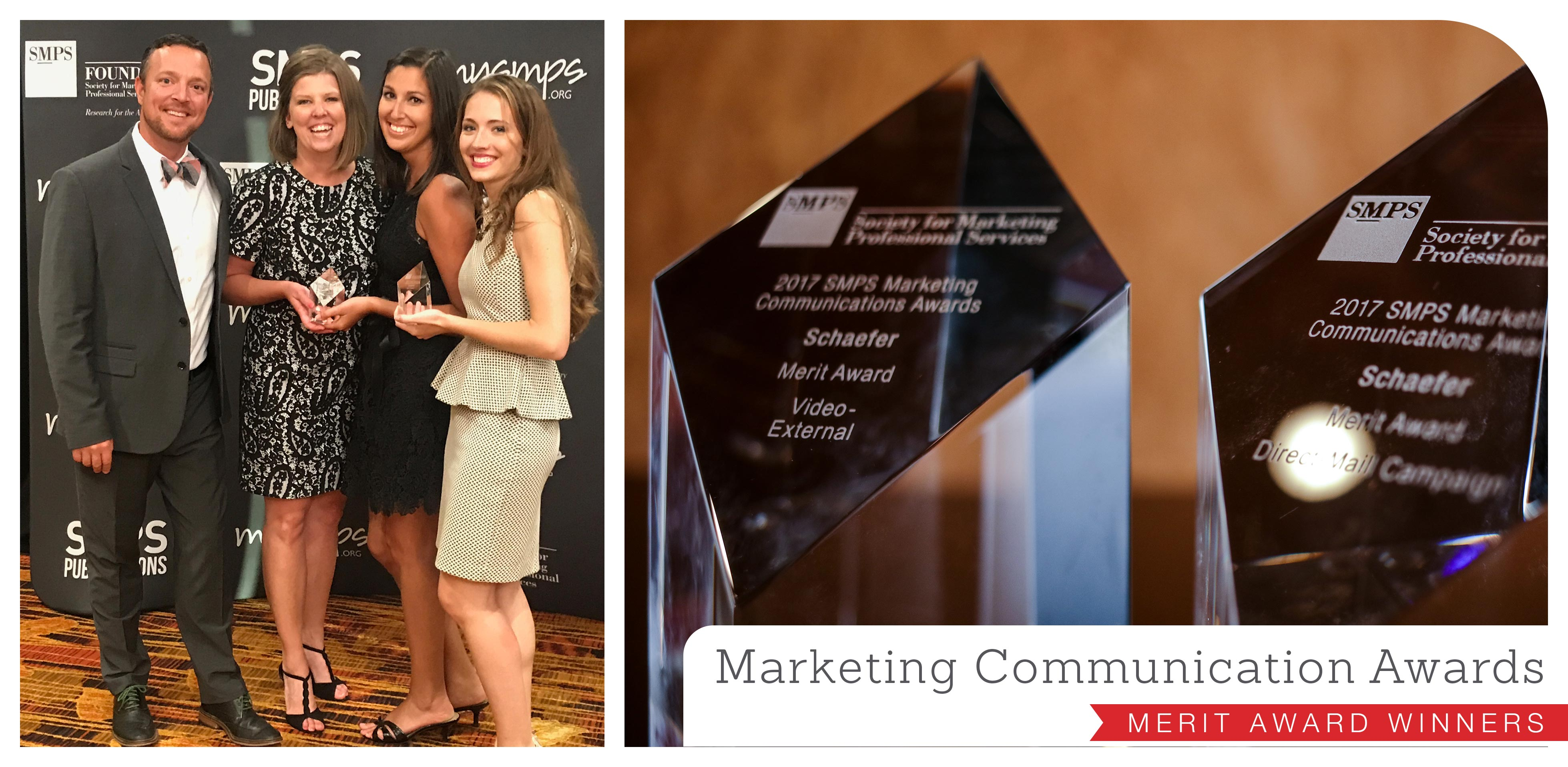 Schaefer takes home two merit awards at the 2017 SMPS Marketing Communication Awards in Indianapolis, Indiana.