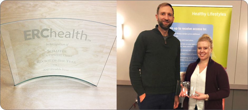 (Left) ERChealth honored Schaefer with the 'Rookie of the Year' award for the Southwest Ohio region. (Right) Nate Baugh and Lauren Lonce received the award on behalf of Schaefer.