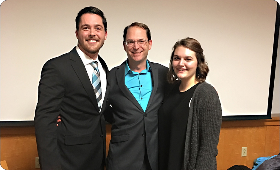 Greg Riley (center) with current Chi Epsilon members Trent Phillips (left) and Nichole Criner (right). Trent worked previously as a co-op student at Schaefer and Nichole is currently.
