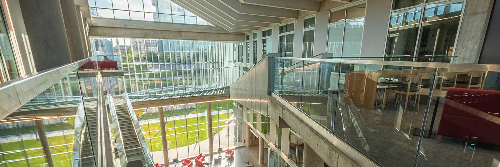 The view from the top of the atrium in the University of Cincinnati Health Sciences Building.