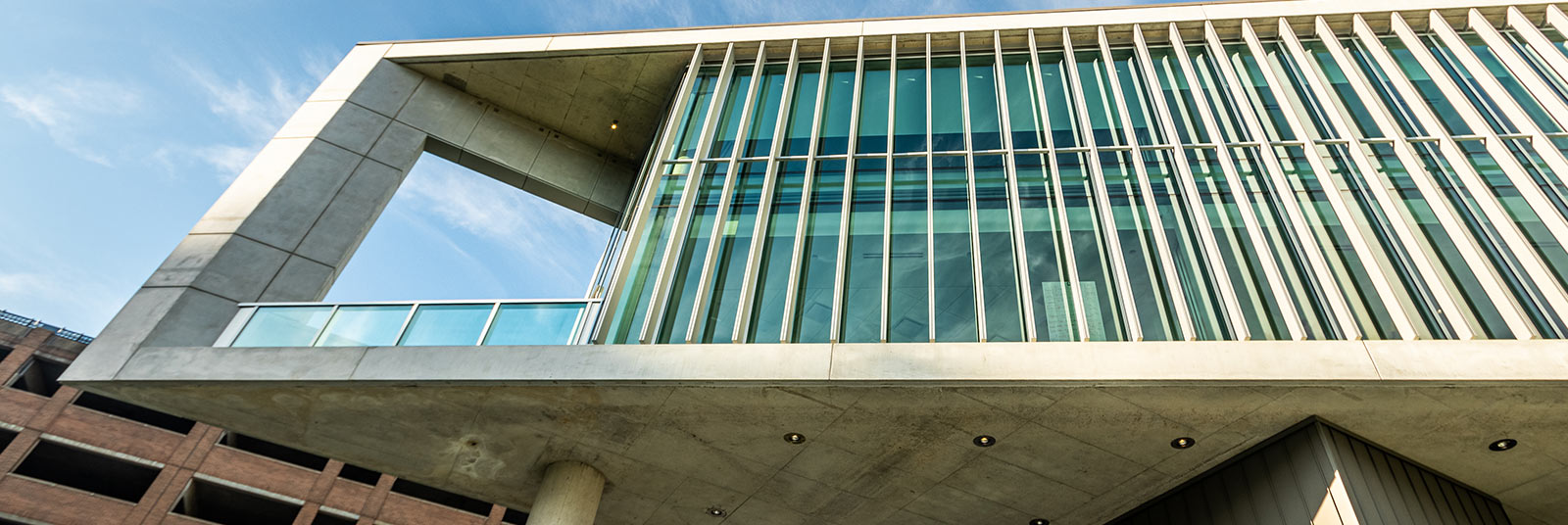 The balcony on the end of the University of Cincinnati Health Sciences Building.