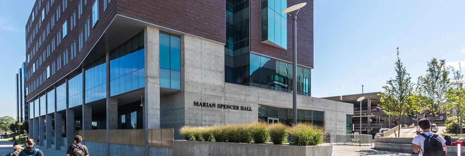 The entrance at University of Cincinnati Marian Spencer Hall in Cincinnati, Ohio.
