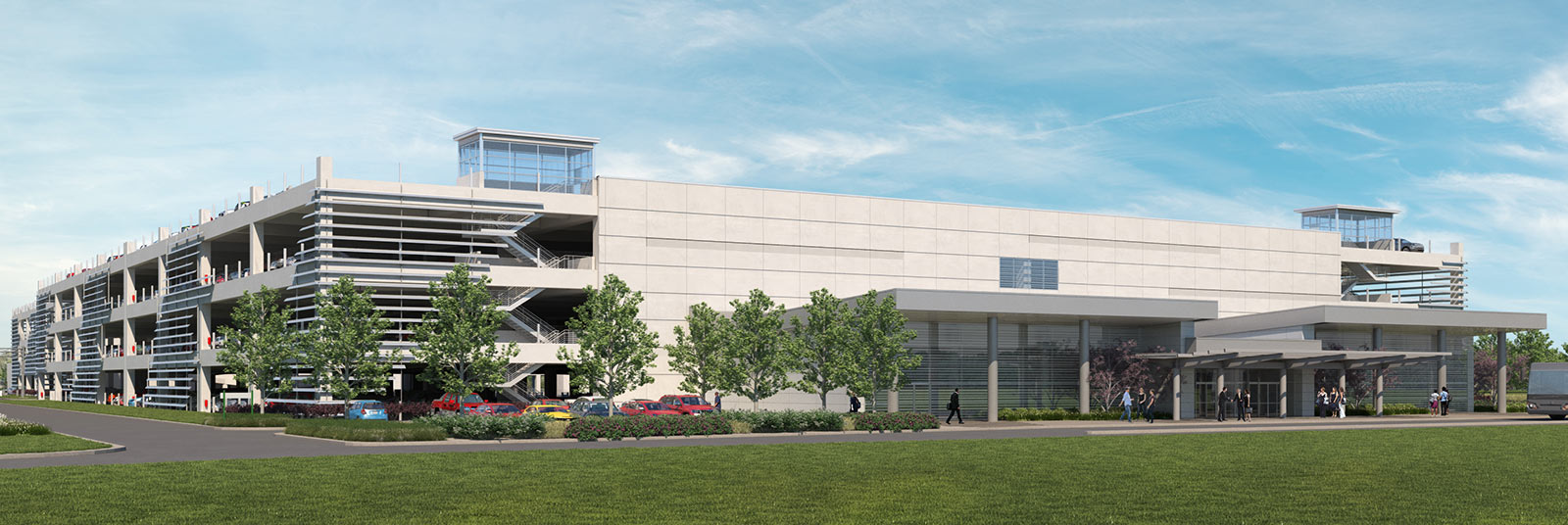 Rendering of the entrance to the new Consolidated Rental Car Facility at the John Glenn Columbus International Airport.
