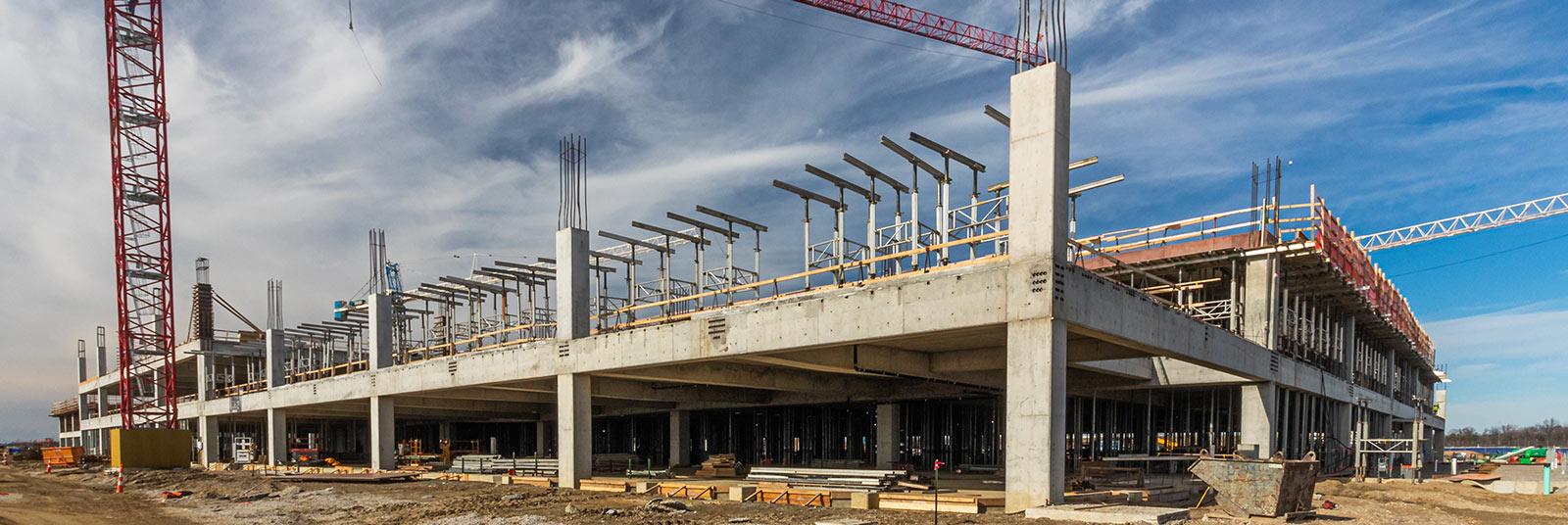 Construction progress at the ConRAC facility at the John Glenn Columbus International Airport in Columbus, Ohio.