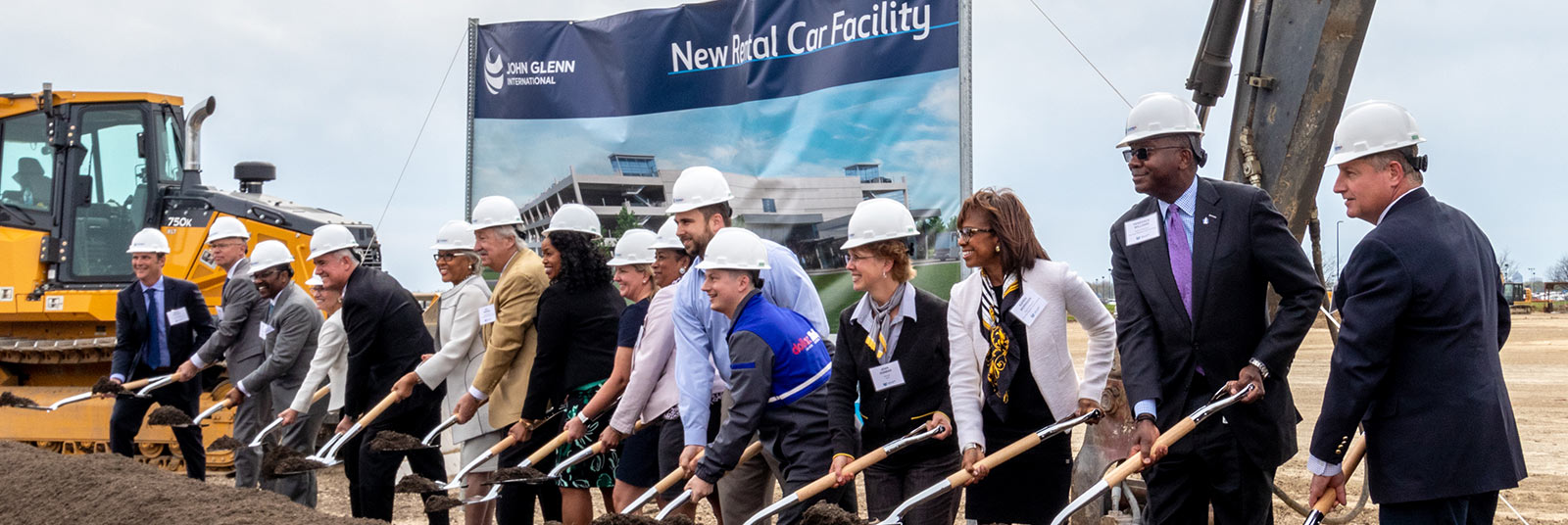 The design and construction team celebrates the groundbreaking of the new Consolidated Rental Car Facility at the John Glenn Columbus International Airport.