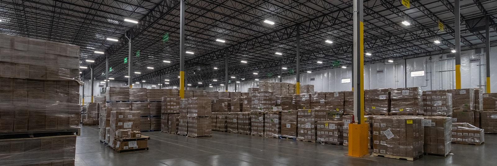 Large warehouse storage inside the Nehemiah Manufacturing facility in Cincinnati, Ohio.
