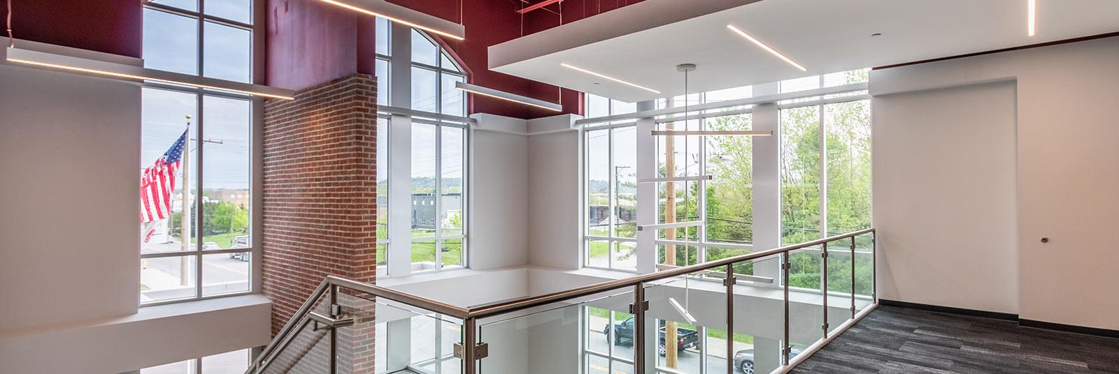 Second floor view of the lobby atrium inside the Nehemiah Manufacturing facility in Cincinnati, Ohio.