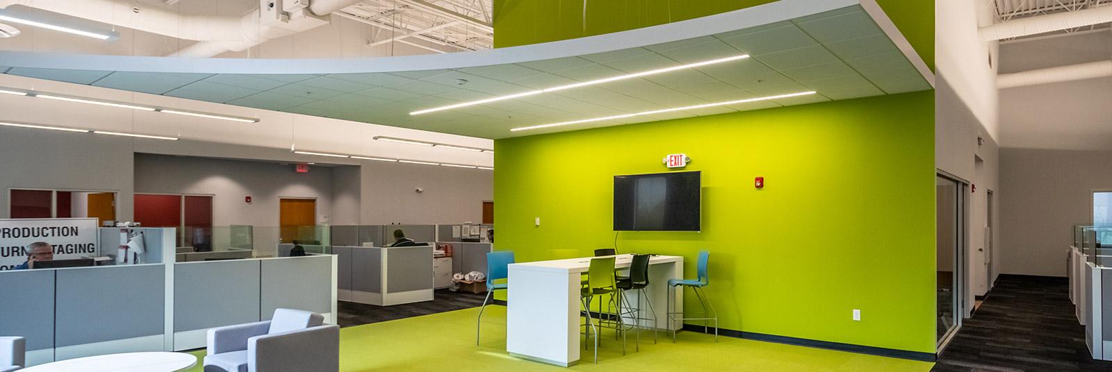 Second floor office space inside the Nehemiah Manufacturing facility in Cincinnati, Ohio.