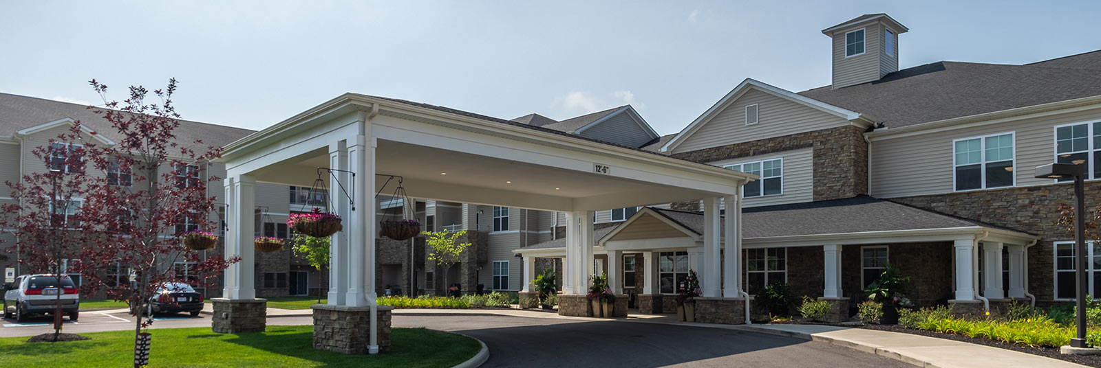 The large porte cochere at the entrance of the Story Point facility in Grove City, Ohio