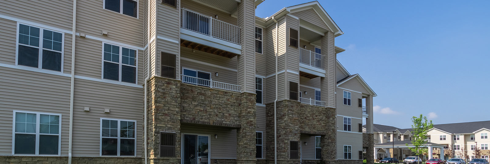 A close up of the units at the StoryPoint senior living community in Grove City, Ohio