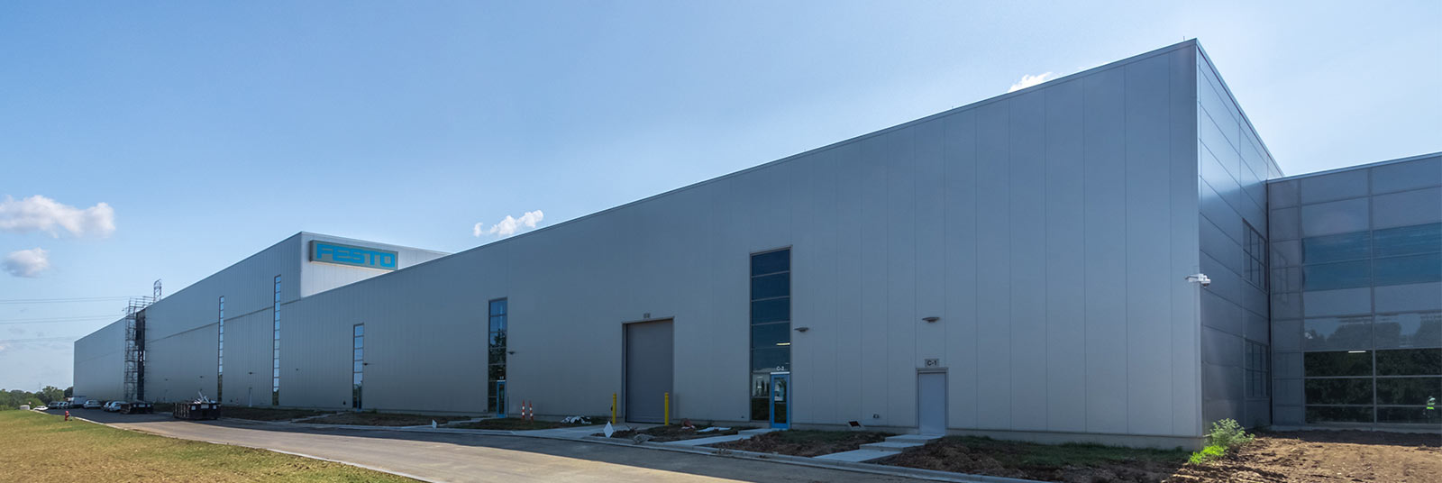 The exterior completed portion of the FESTO industrial facility expansion in Mason, Ohio.