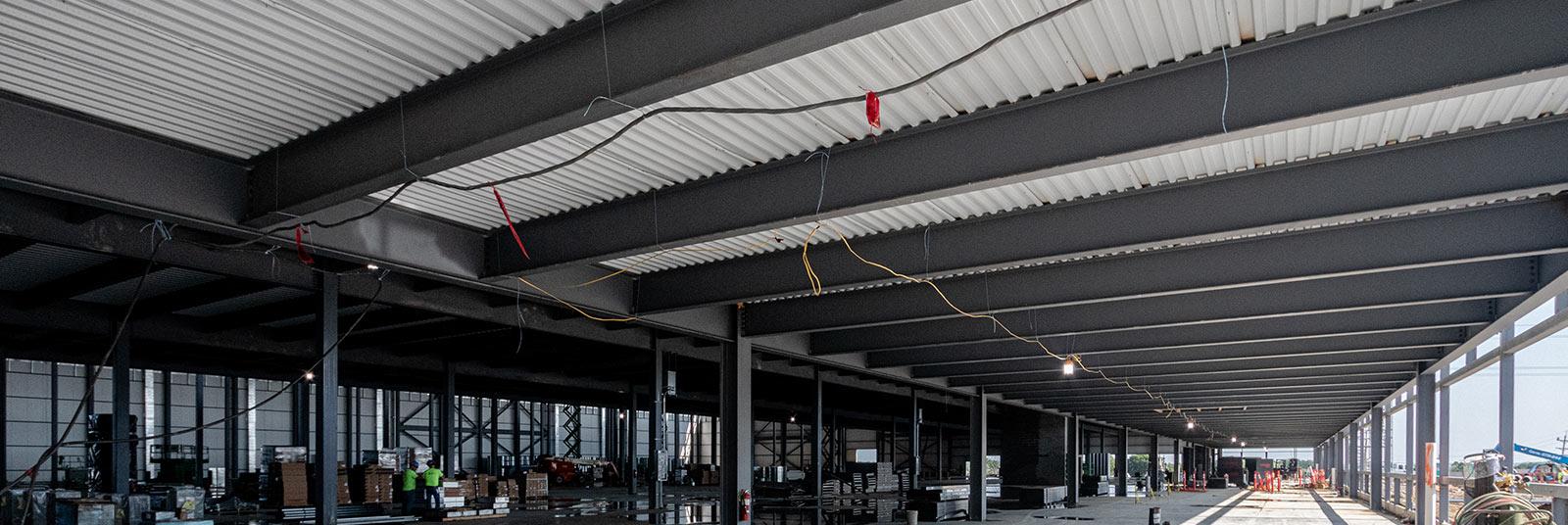 Interior progress at the FESTO industrial facility expansion in Mason, Ohio.