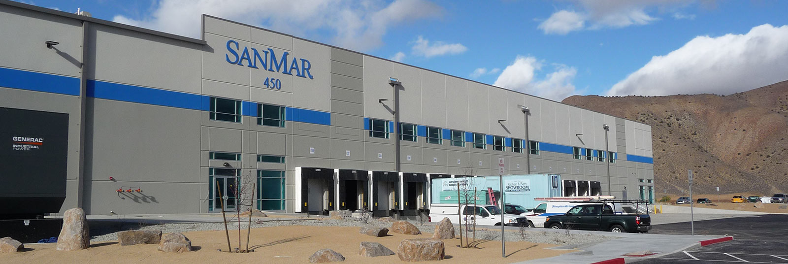 The entrance to the large SanMar distribution center in Spanish Springs, Nevada.