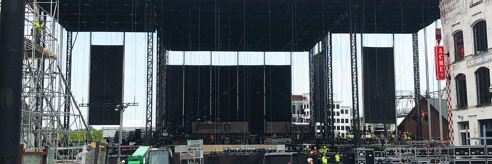 View of the temporary stage under production at the 2019 NFL Draft in Nashville, Tennessee.