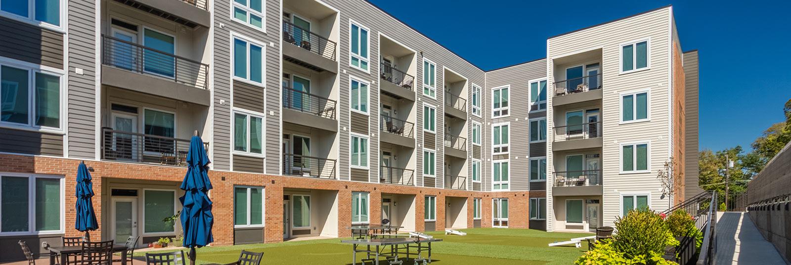 Green space between apartment buildings at One41 Wellington in Cincinnati, Ohio.