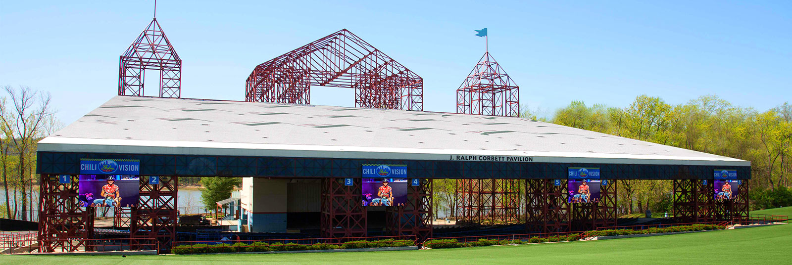 The original, obstructed view of the stage at the Riverbend Music Center J. Ralph Corbett Pavilion in Cincinnati, Ohio.