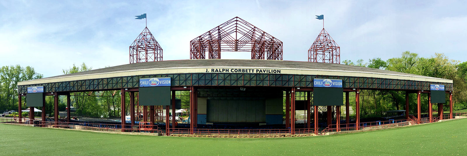 The completed, unobstructed view of the stage at the Riverbend Music Center J. Ralph Corbett Pavilion in Cincinnati, Ohio.