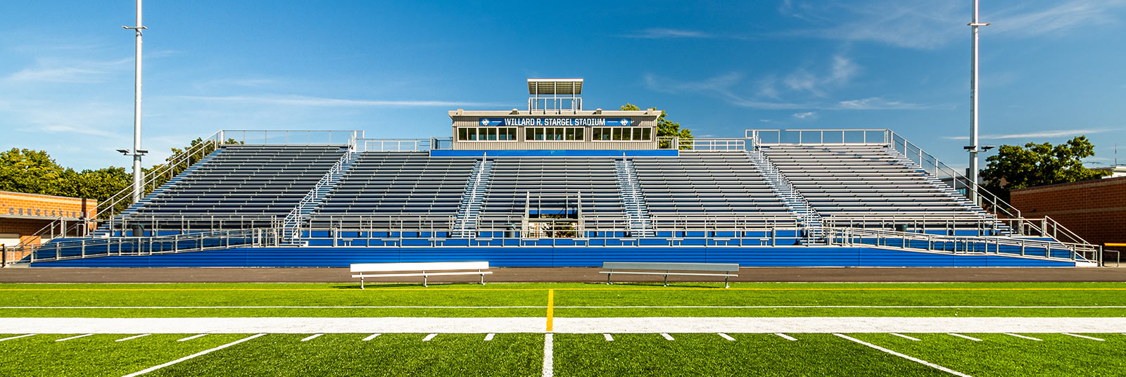 View from football field of the bleachers at the Williard R. Stargel Stadium in Cincinnati, Ohio.