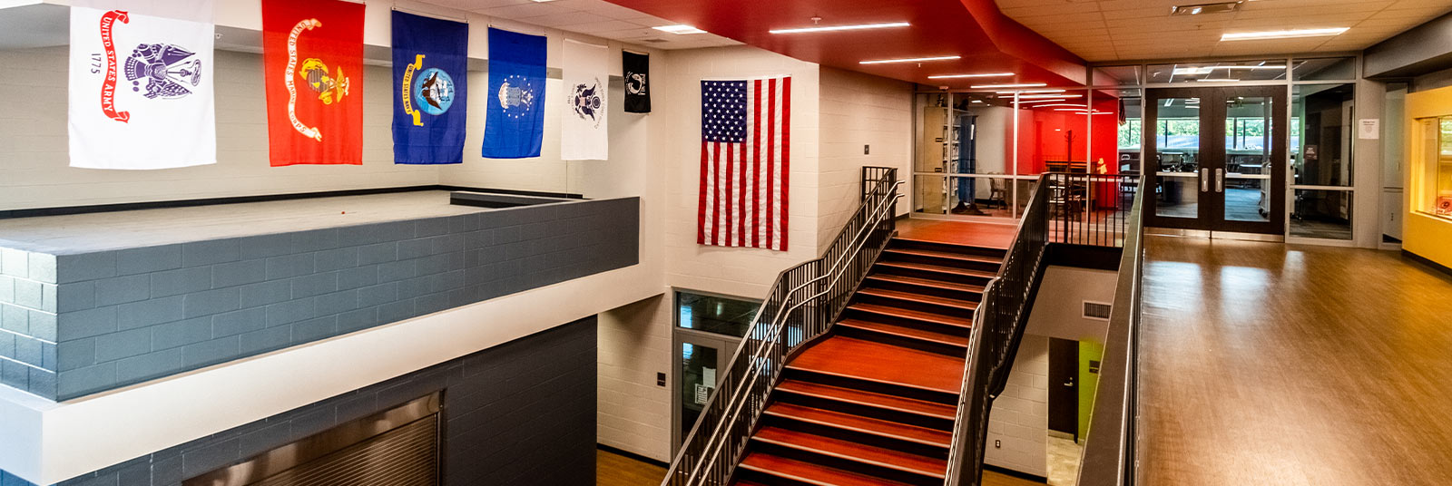 The cantilevered staircase at Amity Elementary in Deer Park, Ohio.