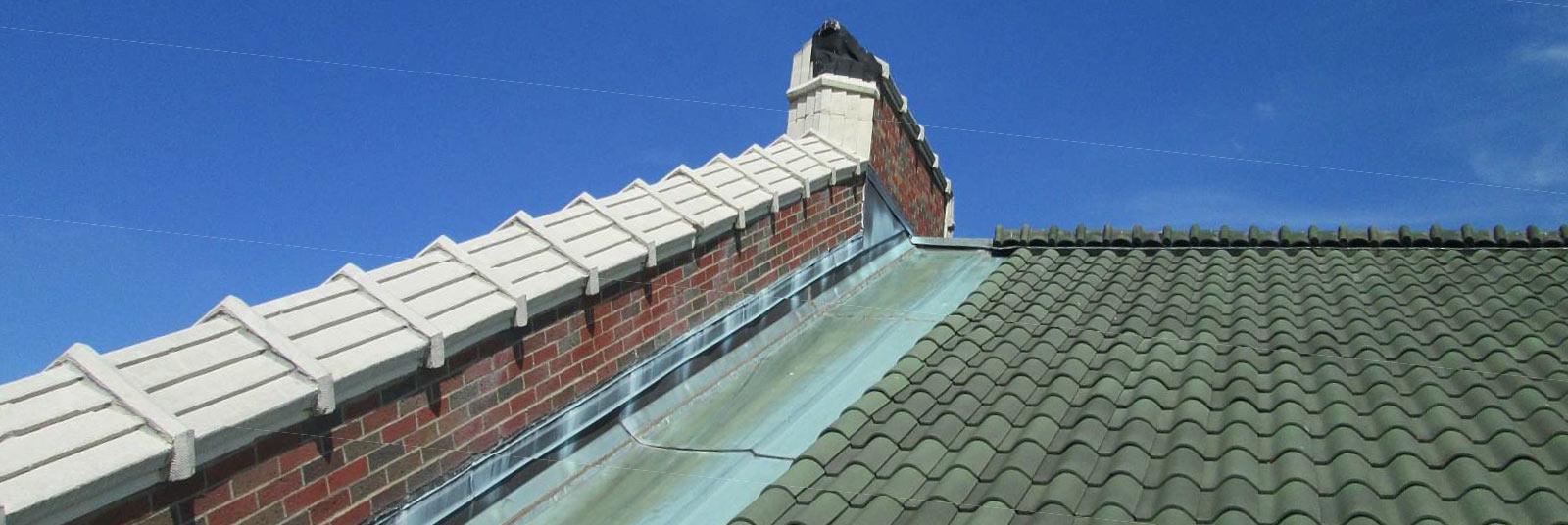View looking up the roof shingles at the University of Cincinnati Dieterle Hall in Cincinnati, Ohio.