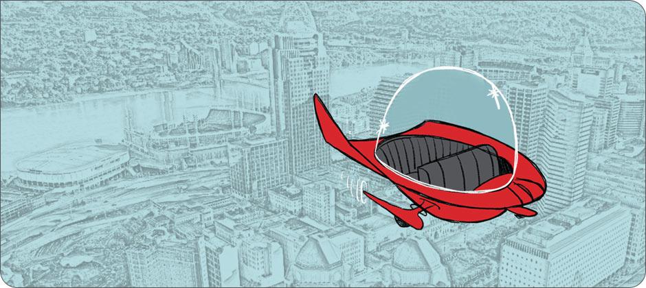Cartoon flying car over Cincinnati skyline.