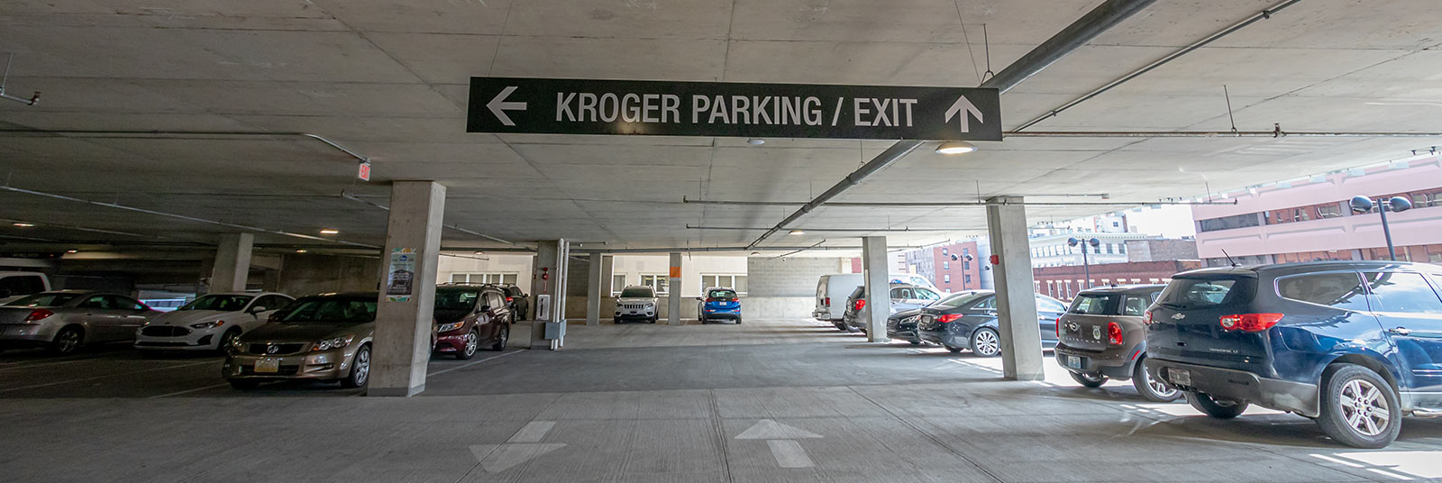 Inside the parking structure at 1010 On The Rhine in Cincinnati, Ohio.