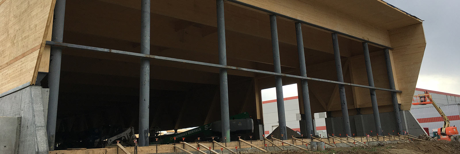 Beams to support the CLT and glulam structure at the Salvagnini addition in Hamilton, Ohio.