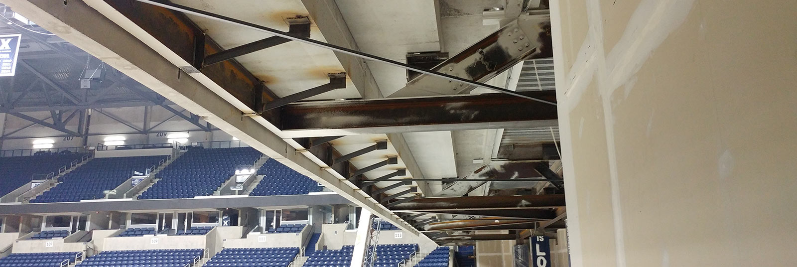 Cantilevered seating bowl addition at Xavier University Cintas Center in Cincinnati, Ohio.