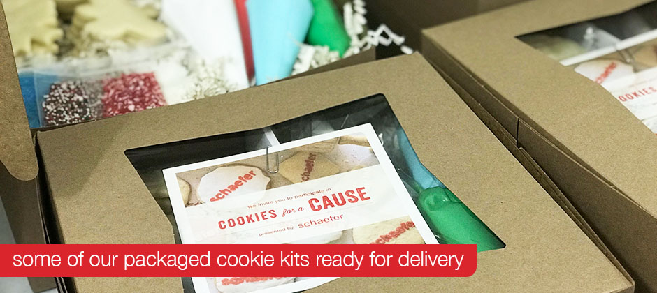Final packaged cookie kits for Schaefer's 2019 Cookies for a Cause holiday gift campaign.