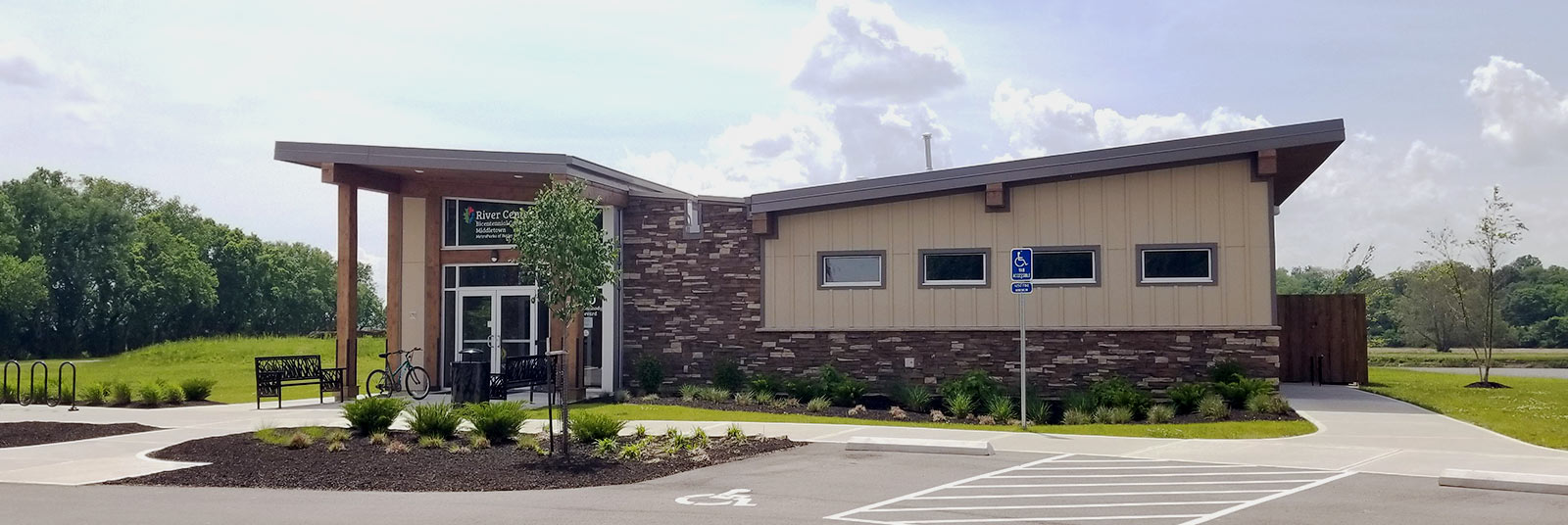 View of the completed facility at MetroParks of River Center in Middletown, Ohio.