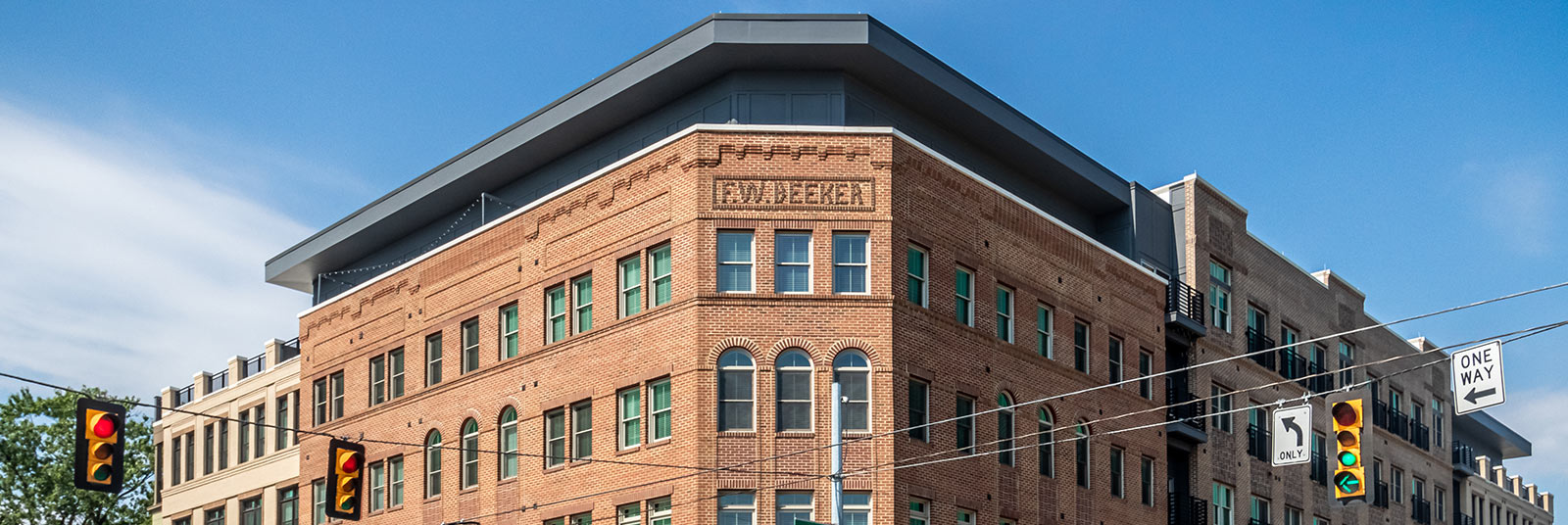 The F.W. Beeker building offers multi-family housing atop of first floor commercial spaces in Columbus, Ohio.