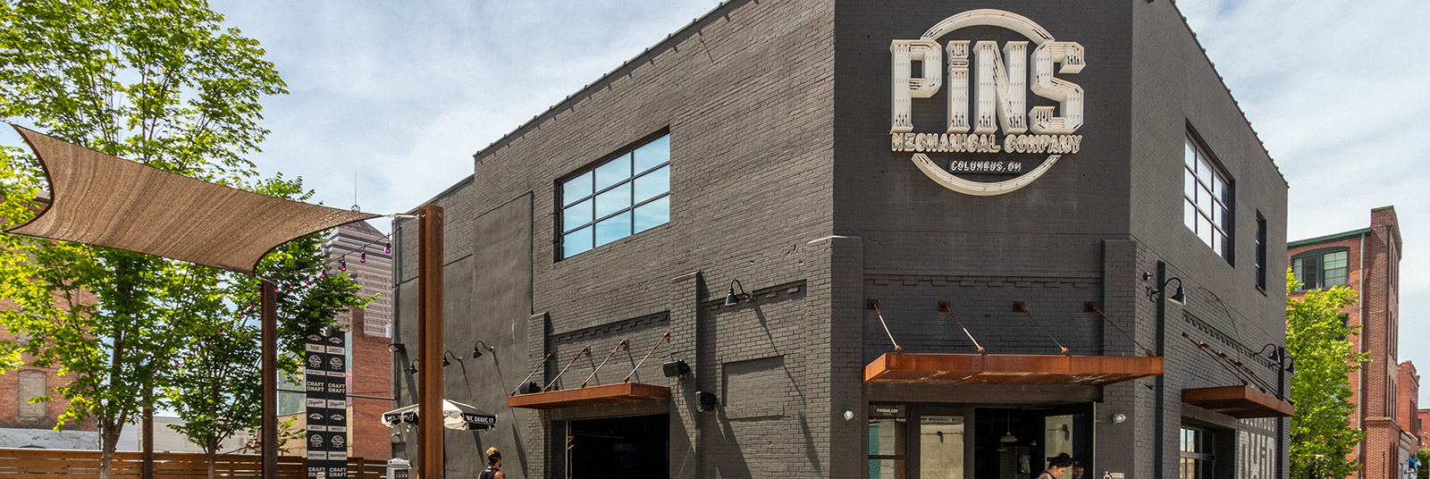 The entrance to PINS Mechanical in downtown Columbus, Ohio.
