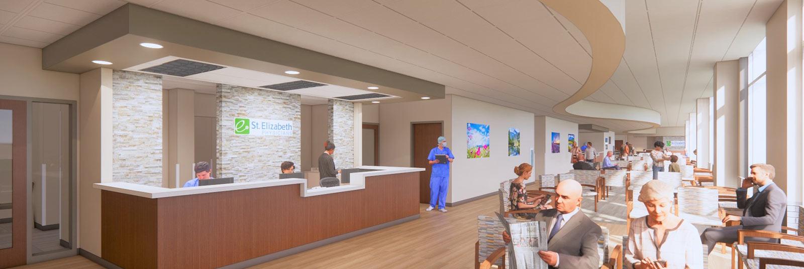 St. Elizabeth Fort Thomas medical office building renderings showing lobby space.