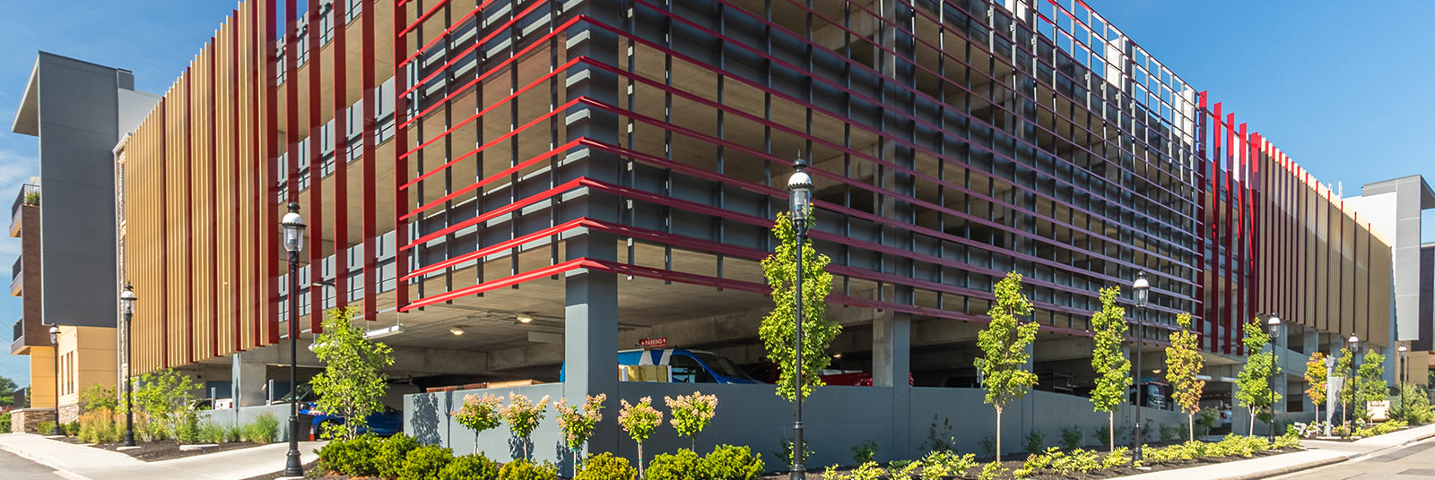 The standalone parking structure at The RED apartments in Cincinnati, Ohio.