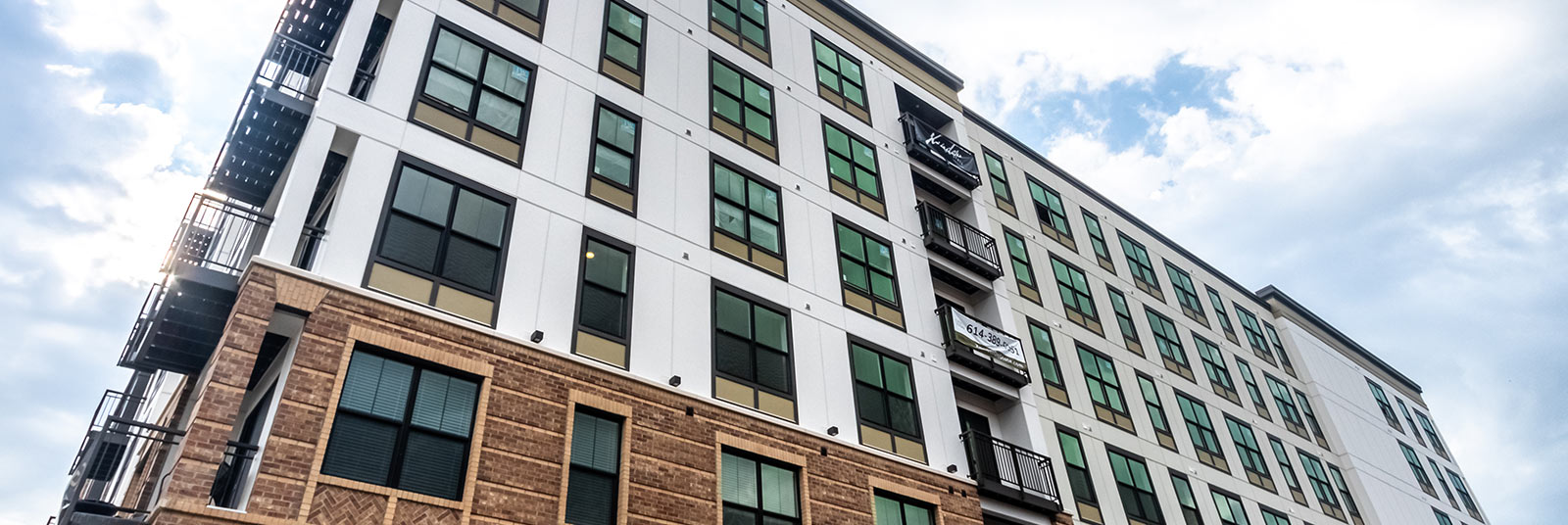 View of the multi-story housing at Xander on State in Columbus, Ohio.