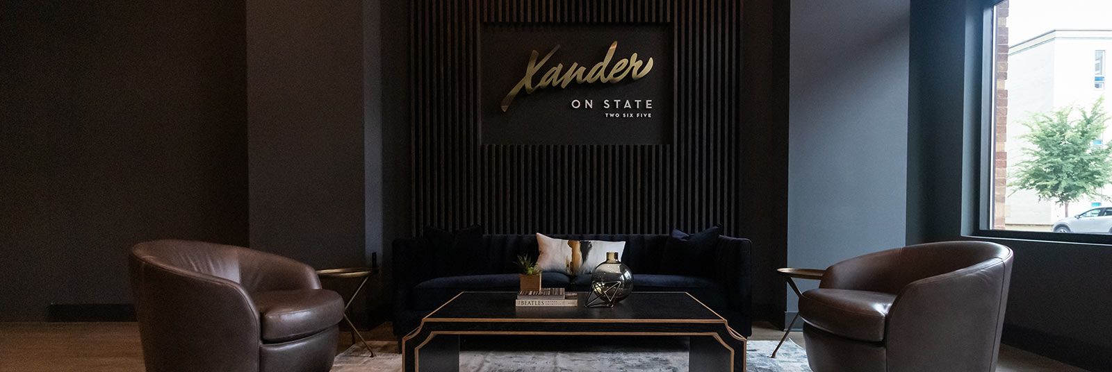 The lobby at Xander on State in Columbus, Ohio.