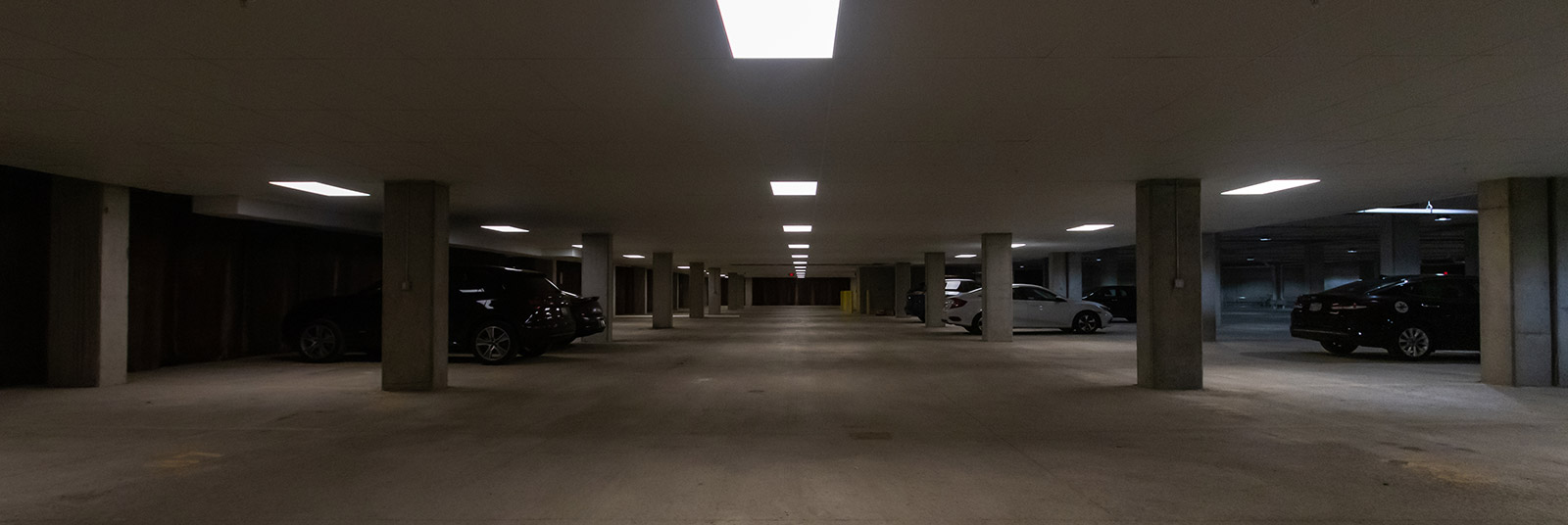 The parking garage at Xander on State in downtown Columbus, Ohio.