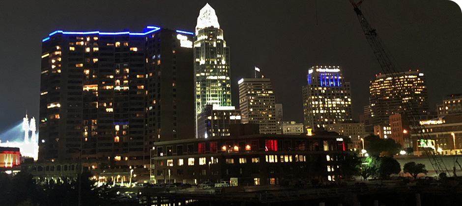 View of Schaefer's downtown Cincinnati office lit up for Red Alert #RESTART.