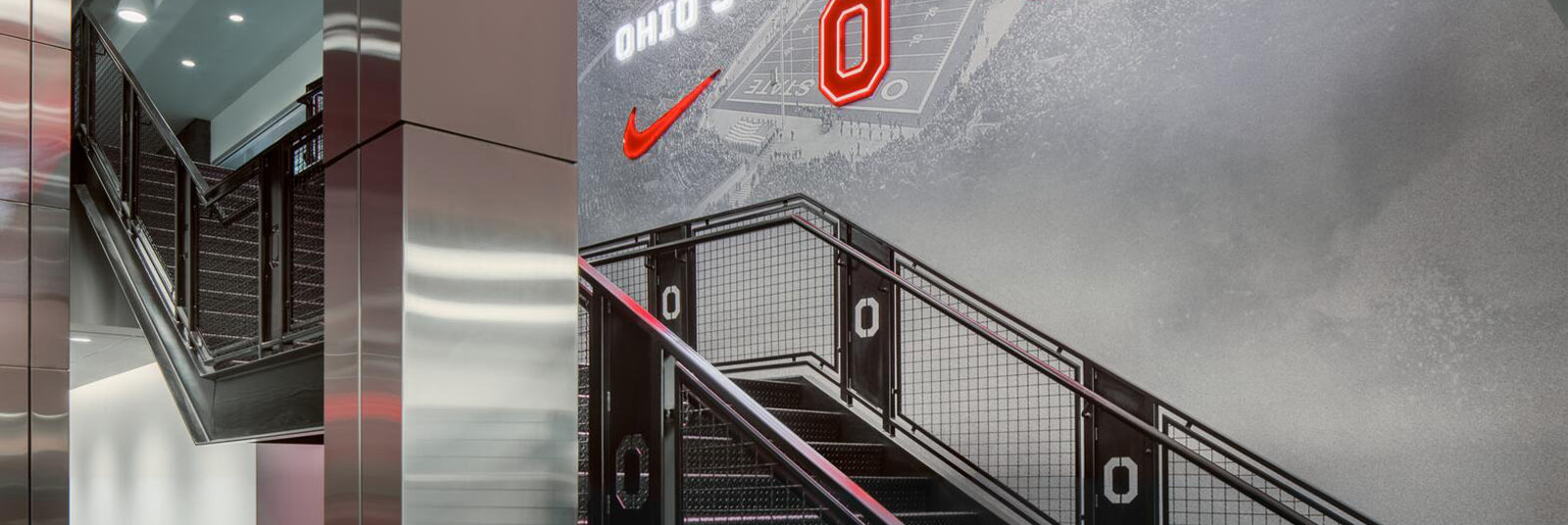 Monumental staircase at the renovated Woody Hayes Athletic Center at The Ohio State University.