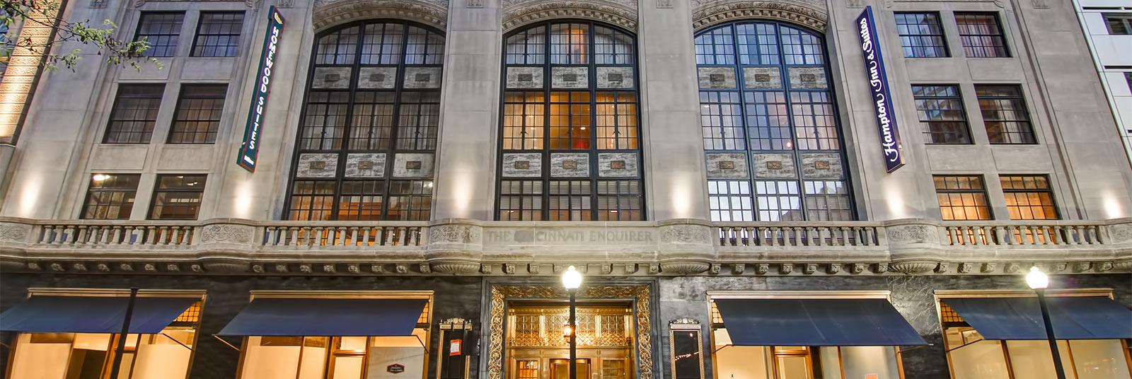 The Homewood Suites and Hampton Inn hotels at the Cincinnati Enquirer building in downtown Cincinnati, Ohio.