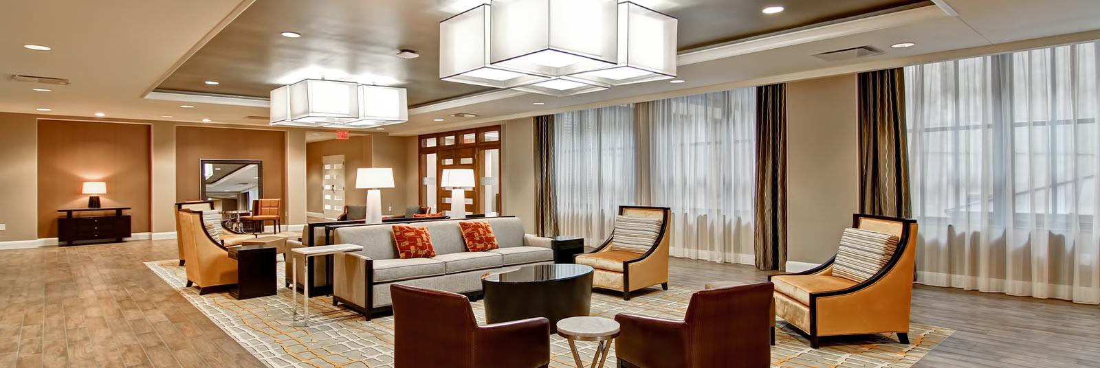 Lobby and seating area in the Hampton Inn in downtown Cincinnati, Ohio.