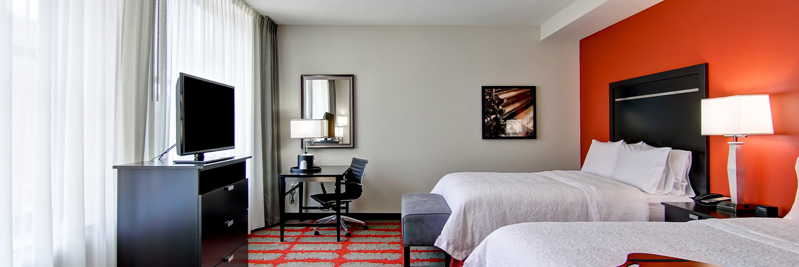 Guest room at the Hampton Inn in downtown Cincinnati, Ohio.