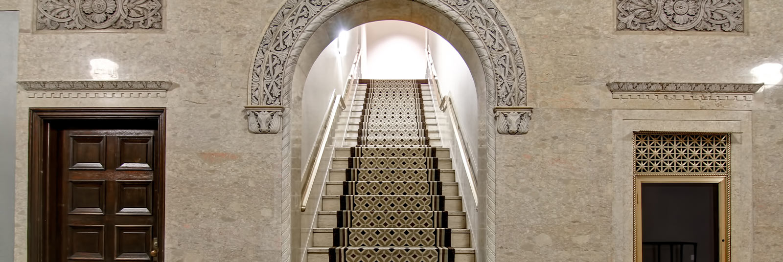 Historic architecture and interior design in the the Homewood Suites and Hampton Inn hotels at the Cincinnati Enquirer building in downtown Cincinnati, Ohio.