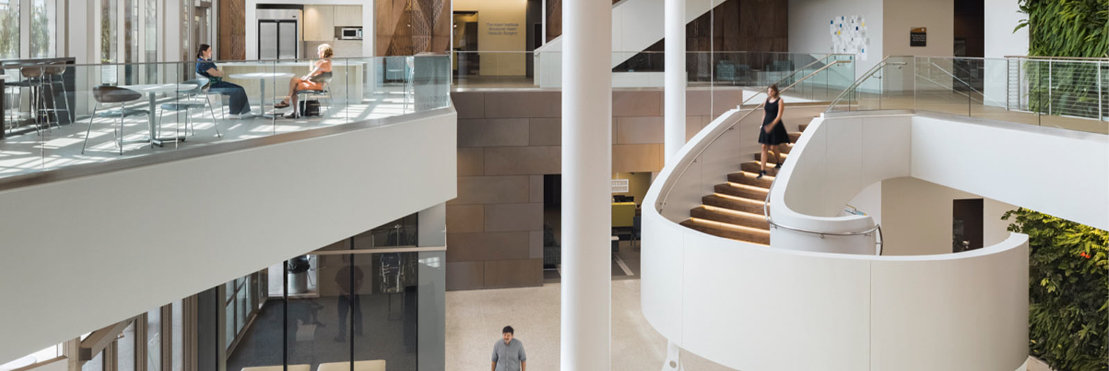 The main atrium with helical staircase at the TriHealth Thomas Comprehensive Care Center
