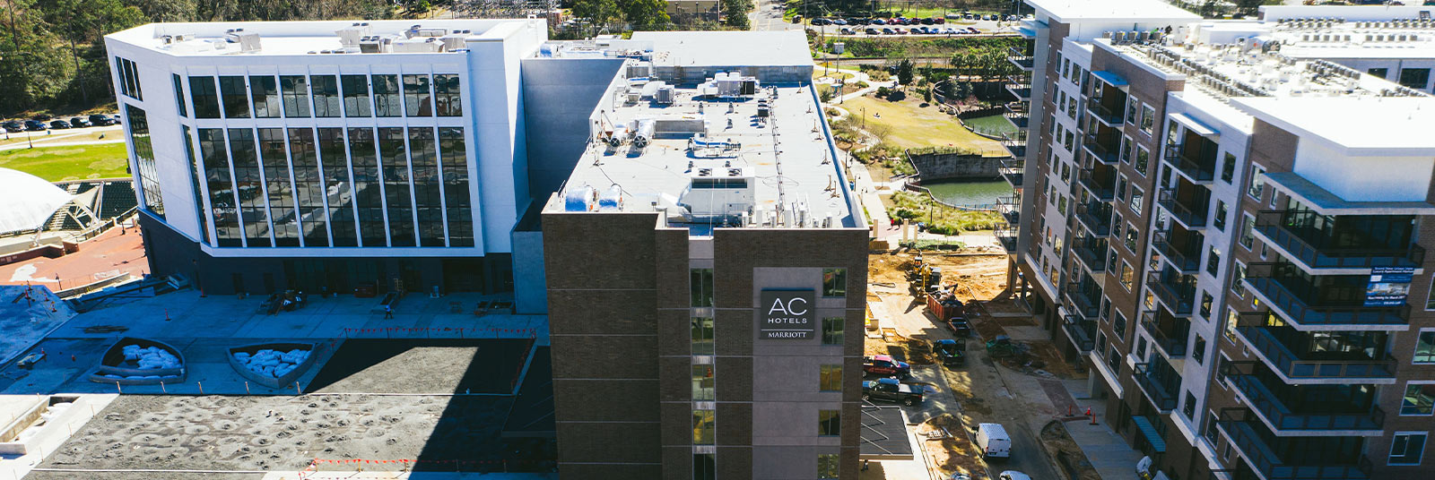 Aerial view during construction of the AC Marriott Tallahassee.