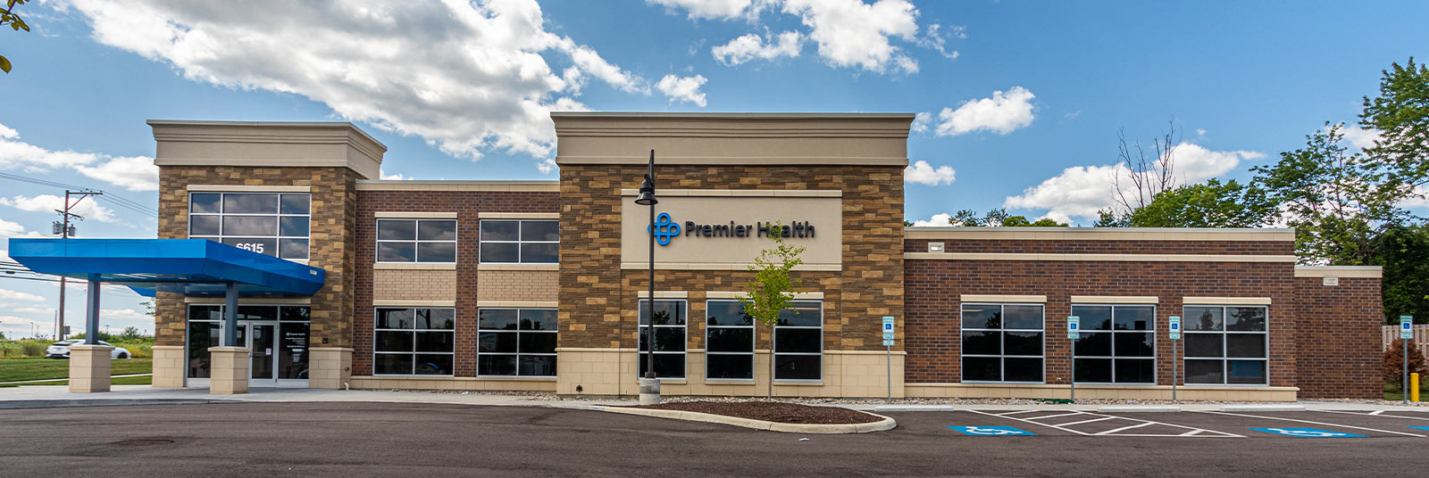 Main entrance at the Premier Health Liberty Family Medicine office building in Liberty Township, Ohio.