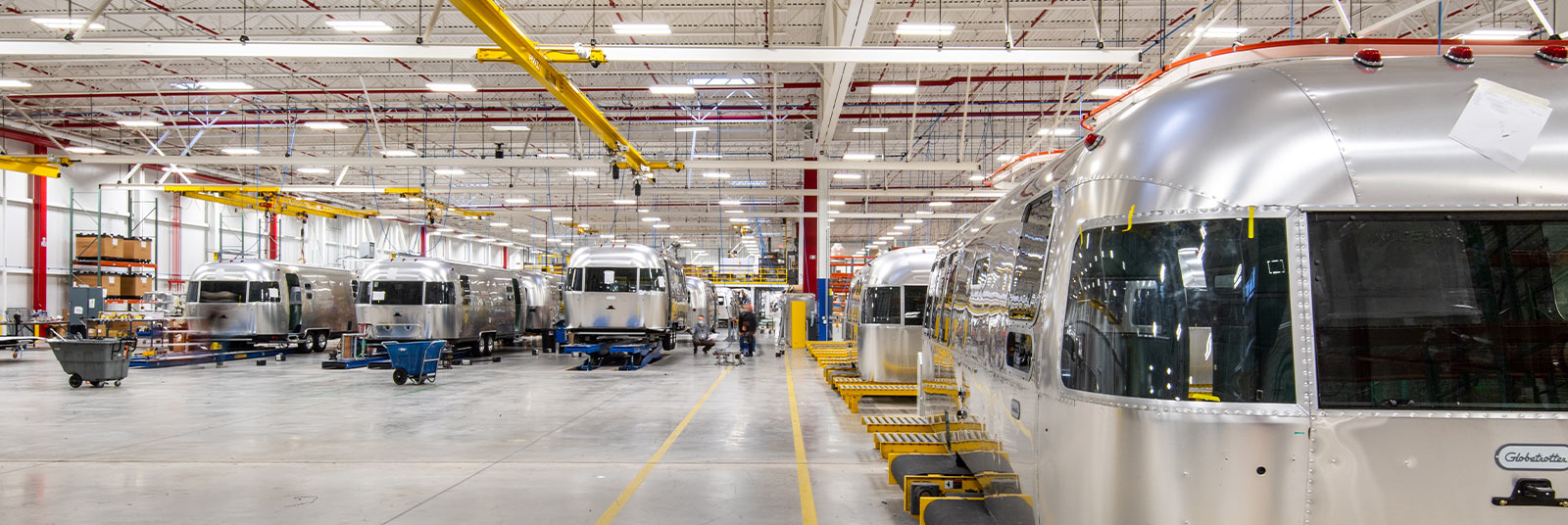 Inside the Airstream industrial facility in Jackson Center, Ohio.